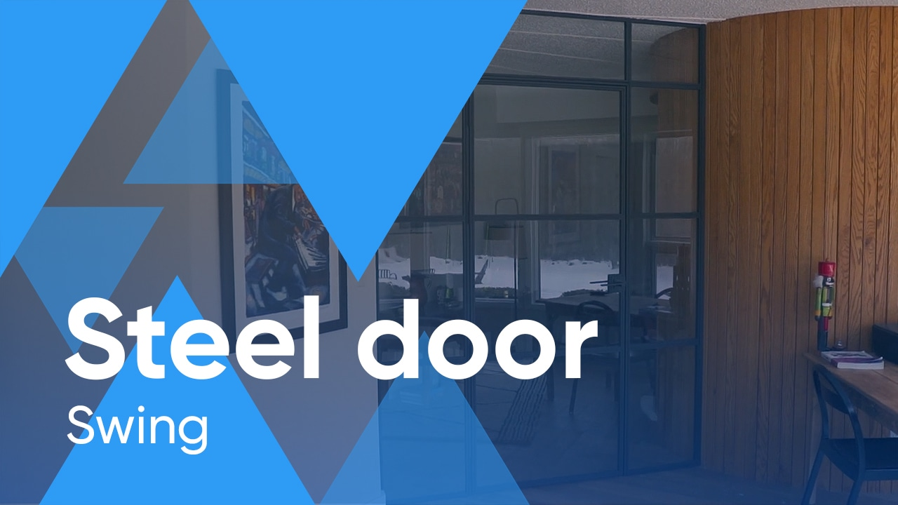 Custom-made steel swing door with sidelites